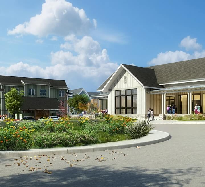 A rendering of the exterior of the Park 40 apartments clubhouse at Baseline